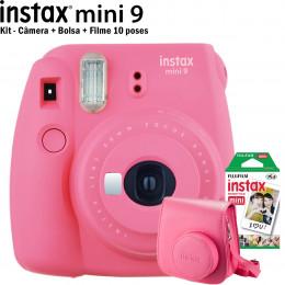 Kit Instax Mini 9 Rosa - (Câmera + Bolsa + Filme 10 poses)