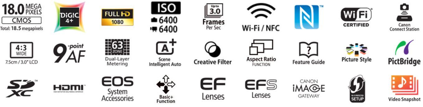 Câmera Canon T6 - Dados técnicos