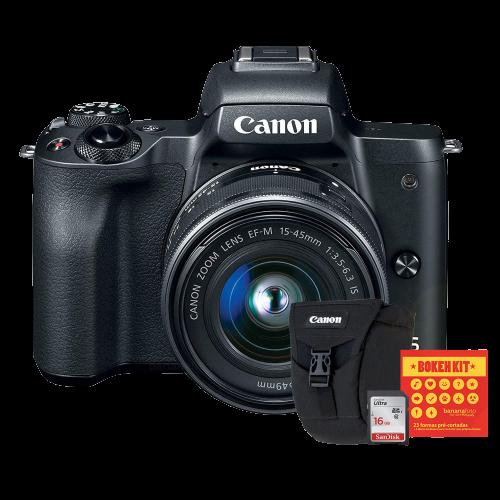 Canon M50 Câmera Mirrorless + Lente EF-M 15-45mm + Bolsa Canon, Cartão 16GB e Kit Bokeh