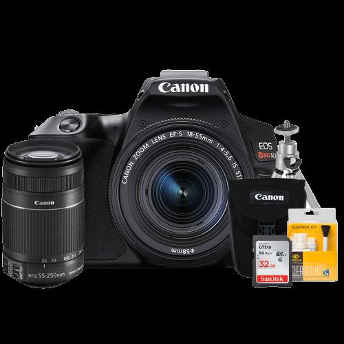 Canon SL3 Kit Premium EF-S 18-55 e EF 55-250mm Bolsa Canon  Cartão 32GB   Kit Bokeh