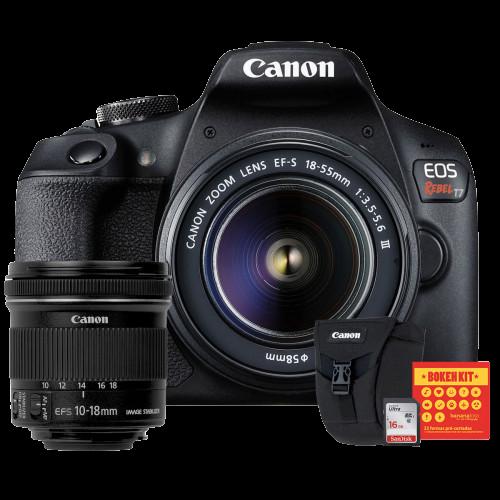 Canon T7 Kit Premium EFS 18-55 e EFS 10-18   Bolsa Canon   Cartão 16GB   Kit Bokeh