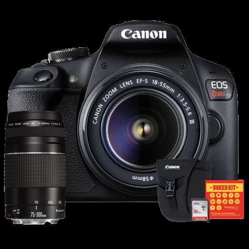 Canon T7 Kit Premium EFS 18-55 e EF 75-300   Bolsa Canon   Cartão 16GB   Kit Bokeh