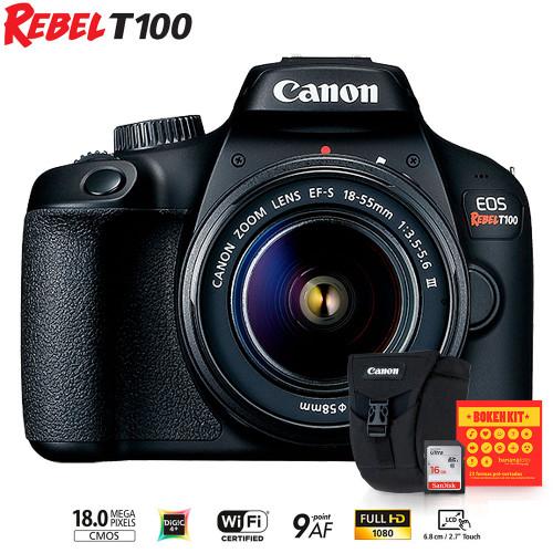 Câmera Canon T100 Kit Bananafoto