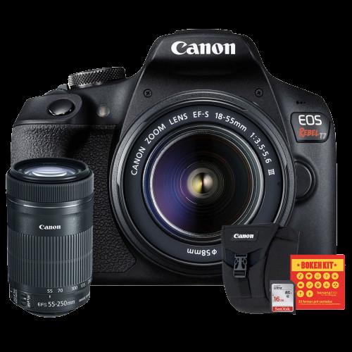 Canon T7 Kit Premium EFS 18-55 e EFS 55-250   Bolsa Canon   Cartão 16GB   Kit Bokeh