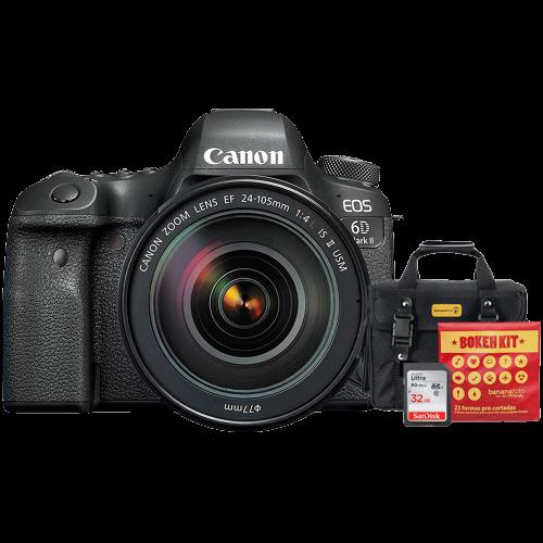 Canon 6D Mark II + Lente 24-105mm f/4L IS II USM + Bolsa + Cartão 32GB + Kit Bokeh