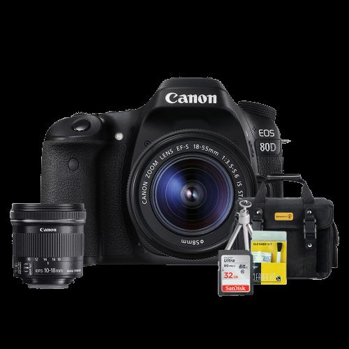 Canon 80D Kit Premium 18-55mm / 10-18mm + Bolsa + Cartão 32GB + Mini Tripé + Kit Limpeza