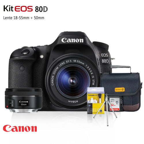 Canon EOS 80D com lente 50mm