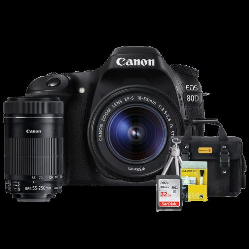 Canon 80D Kit Premium 18-55mm / 55-250mm + Bolsa + Cartão 32GB + Mini Tripé + Kit Limpeza