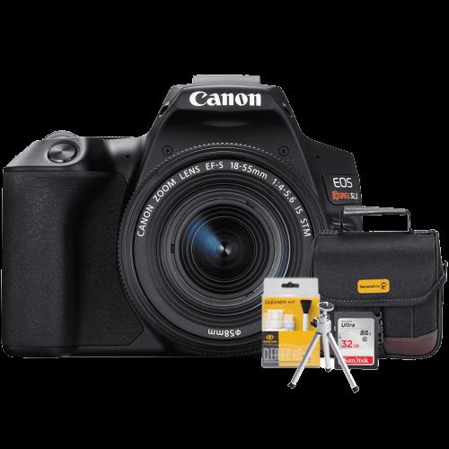 Câmera Canon SL3 com Lente 18-55mm + Bolsa + Cartão 32GB + Mini Tripé + Kit Limpeza