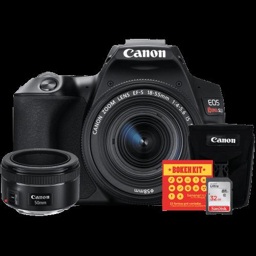 Canon SL3 Kit Premium EF-S 18-55 e EF 50 f/1.8   Bolsa Canon   Cartão 32GB   Kit Bokeh