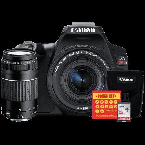 Canon SL3 Kit Premium EFS 18-55 e EF 75-300 + Bolsa Canon + Cartão 32GB + Kit Bokeh