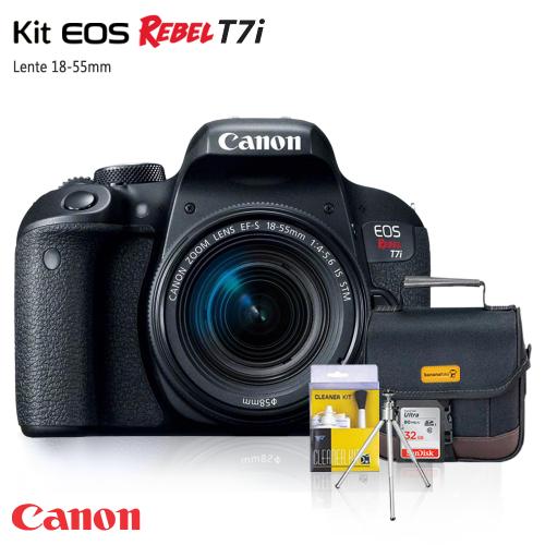 Câmera Canon T7i 24.2MP, Full HD + Lente 18-55mm + Bolsa + Cartão 32GB + Tripé + Kit Limpeza