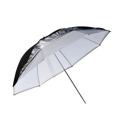 Sombrinha rebatedora Preta Prata e Branca 84cm