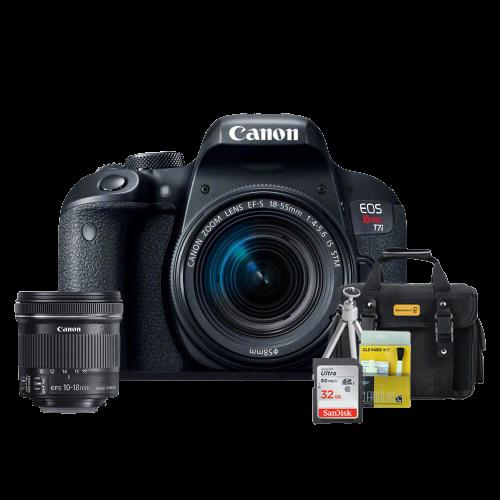 Canon T7i Kit Premium 18-55mm / 10-18mm + Bolsa + Cartão 32GB + Mini Tripé + Kit Limpeza