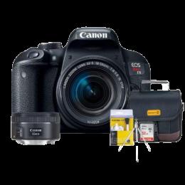 Canon T7i Kit Premium 18-55mm / 50mm + Bolsa + Cartão 32GB + Mini Tripé + Kit Limpeza