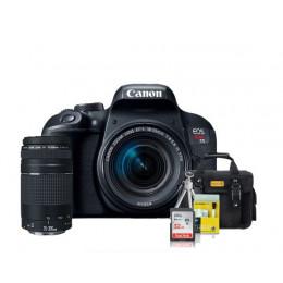 Canon T7i Kit Premium 18-55mm / 75-300mm + Bolsa + Cartão 32GB + Mini Tripé + Kit Limpeza