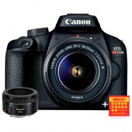 Canon T100 com lente 18-55 e EF 50mm f/1.8 - Ganhe Kit Bokeh