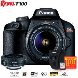 Canon T100 com lentes EF-S 18-55 e EFS 24mm + Bolsa Canon + Cartão 16GB + Kit Bokeh