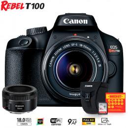 Canon T100 com lente 18-55 e EF 50mm f/1.8 + Bolsa Canon + Cartão 16GB + Kit Bokeh