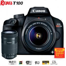 Canon T100 com lente 18-55 e EF-S 55-250mm - Ganhe Kit Bokeh