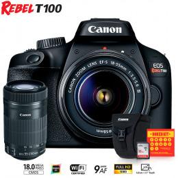 Canon T100 com lente 18-55 e EF-S 55-250mm + Bolsa Canon + Cartão 16GB + Kit Bokeh