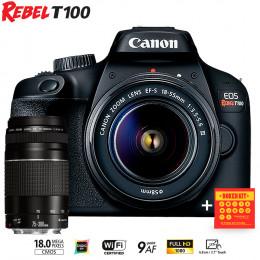 Canon T100 com lente 18-55 e EF 75-300mm - Ganhe Kit Bokeh