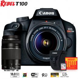 Canon T100 com lente 18-55 e EF 75-300mm + Bolsa Canon + Cartão 16GB + Kit Bokeh