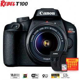Canon T100 com lente EF-S 18-55 III + Bolsa Canon + Cartão 16GB + Kit Bokeh