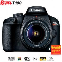 Câmera Canon T100 com lente EF-S 18-55 III - Ganhe kit Bokeh