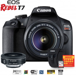 Canon T7 Kit Premium EFS 18-55 e EFS 24mm + Bolsa Canon + Cartão 16GB + Kit Bokeh