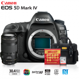 Canon EOS 5D Mark IV + Lente 70-300mm IS II USM + Bolsa + Cartão 32GB + Kit Bokeh