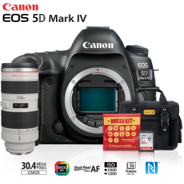 Canon EOS 5D Mark IV + Lente 70-200mm f/2.8L USM + Bolsa + Cartão 32GB + Kit Bokeh