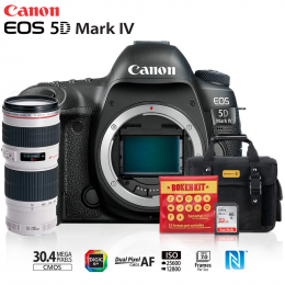 Canon EOS 5D Mark IV + Lente 70-200mm f/4L USM + Bolsa + Cartão 32GB + Kit Bokeh