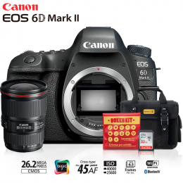 Canon 6D Mark II + Lente 16-35mm f/4L IS USM + Bolsa + Cartão 32GB + Kit Bokeh