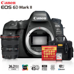 Canon 6D Mark II + Lente 17-40mm f/4L USM + Bolsa + Cartão 32GB + Kit Bokeh