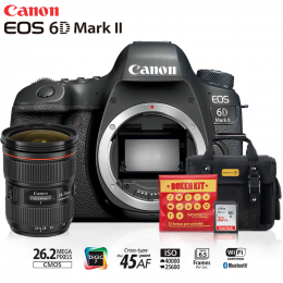 Canon 6D Mark II + Lente 24-70mm f/2.8L II USM + Bolsa + Cartão 32GB + Kit Bokeh