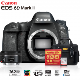 Canon 6D Mark II + Lente 50mm f/1.8 + Bolsa + Cartão 32GB + Kit Bokeh