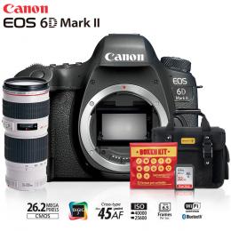 Canon 6D Mark II + Lente 70-200 f/4L USM + Bolsa + Cartão 32GB + Kit Bokeh