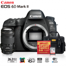 Canon 6D Mark II + Lente 70-300mm f/4-5.6 IS II USM + Bolsa + Cartão 32GB + Kit Bokeh