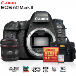Canon 6D Mark II + Lente Fisheye 8-15mm + Bolsa + Cartão 32GB + Kit Bokeh