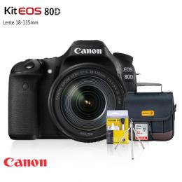 Canon 80D Kit 18-135mm + Bolsa + Cartão 32GB + Mini Tripé + Kit Limpeza