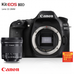 Câmera Canon 80D com lente EF-S 10-18mm Grande-angular