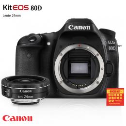 Câmera Canon 80D com lente EF-S 24mm f/2.8