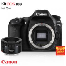 Câmera Canon 80D com lente EF 50mm f/1.8