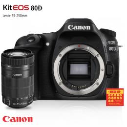 Câmera Canon 80D com lente EF-S 55-250mm