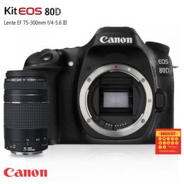Câmera Canon 80D com lente Canon EF 75-300mm