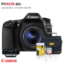 Canon 80D Kit Premium 18-55mm / 24mm + Bolsa + Cartão 32GB + Mini Tripé + Kit Limpeza