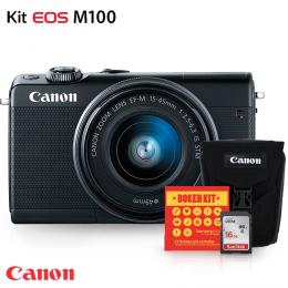 Câmera Digital Canon EOS M100 Mirrorless + Lente 15-45mm + Bolsa Canon, Cartão 16GB e Kit Bokeh