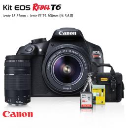 Canon T6 Kit Premium 18-55 / 75-300 + Bolsa + Cartão 32GB + Mini Tripé + Kit Limpeza