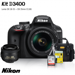 Nikon D3400 Kit + Lentes DX 18-55 e DX 35mm f/1.8G + Bolsa + Cartão 32GB + Mini Tripé + Kit Limpeza